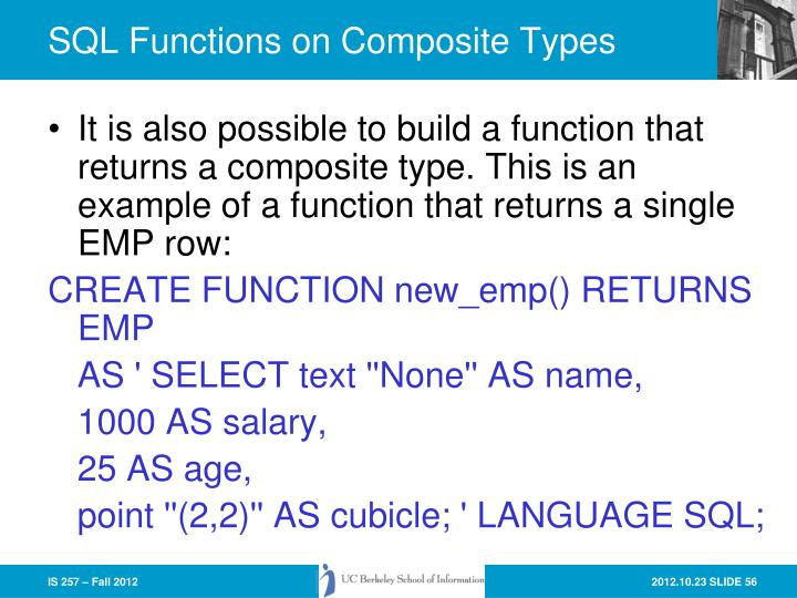 SQL Functions on Composite Types