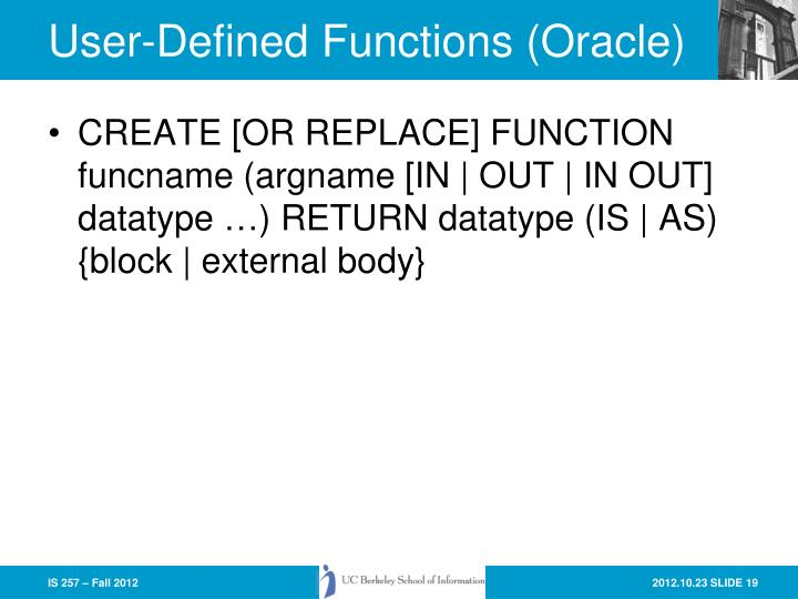 User-Defined Functions (Oracle)