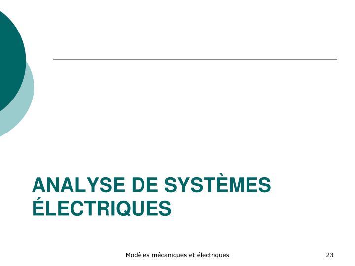 Analyse de systèmes électriques