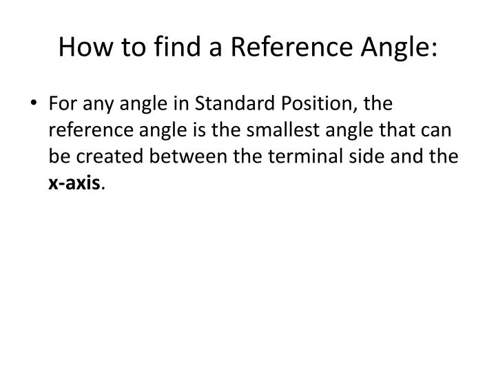 How to find a reference angle