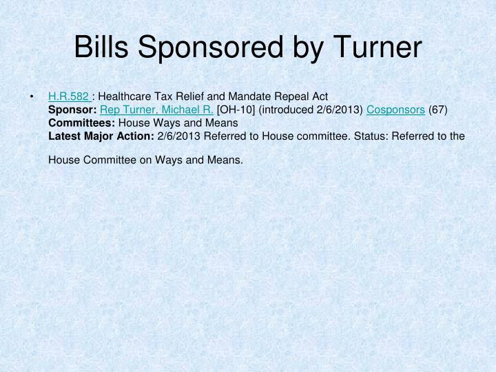 Bills Sponsored by Turner
