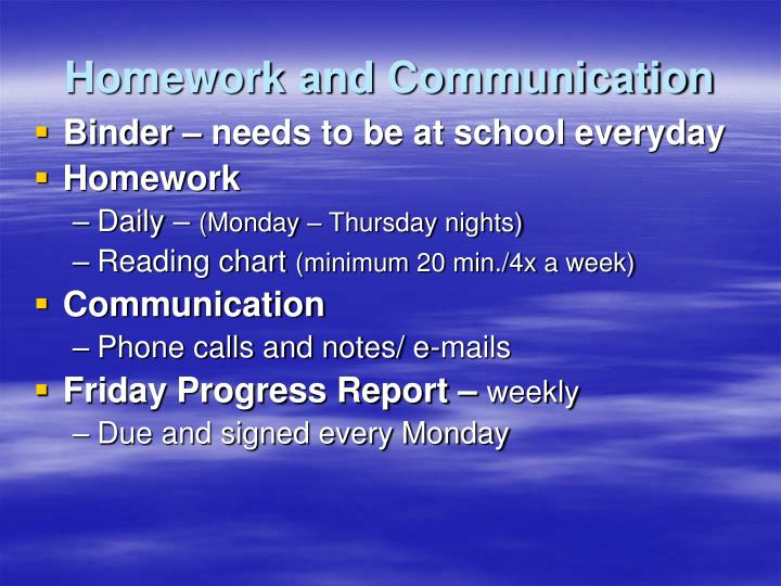Homework and Communication