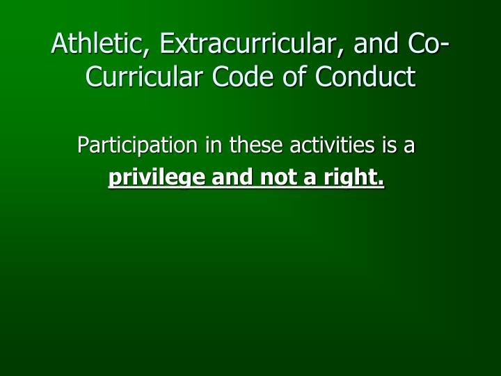 Athletic, Extracurricular, and Co-Curricular Code of Conduct