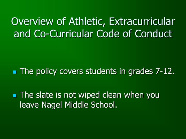 Overview of athletic extracurricular and co curricular code of conduct