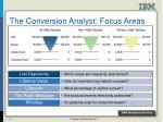 the conversion analyst focus areas