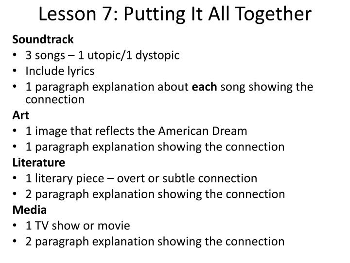 Lesson 7: Putting It All Together