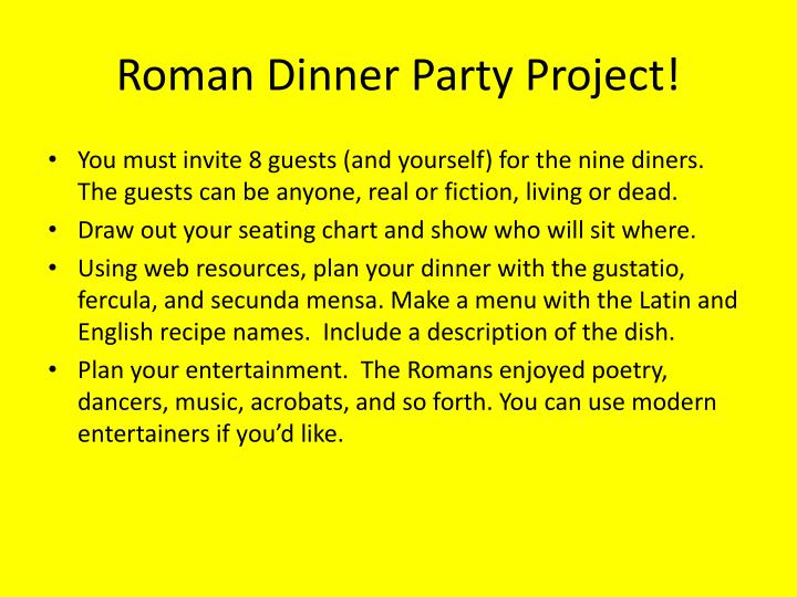 Roman Dinner Party Project!
