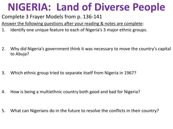 NIGERIA:  Land of Diverse People