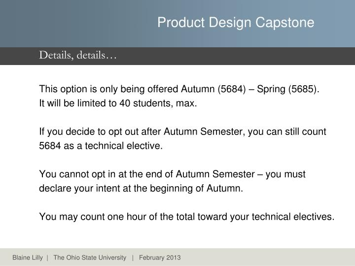This option is only being offered Autumn (5684) –Spring (5685).