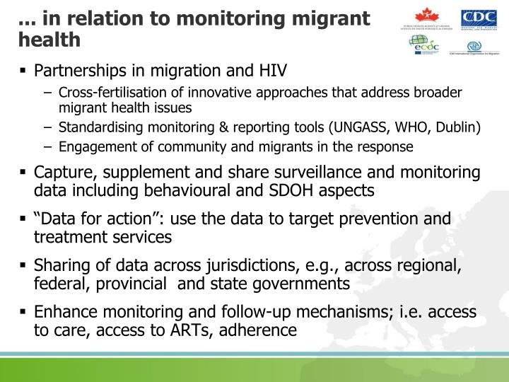 ... in relation to monitoring migrant health