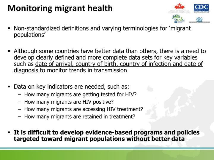Monitoring migrant health