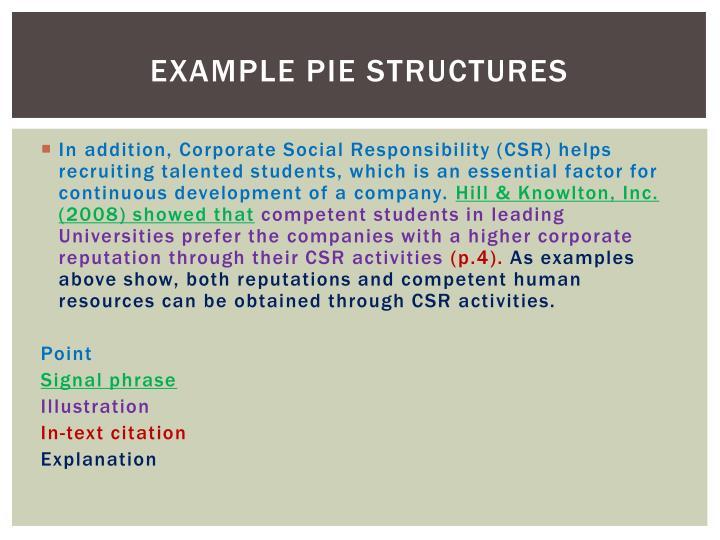 Example PIE structures