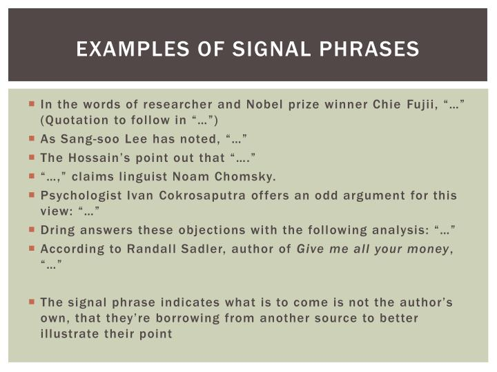 Examples of signal phrases