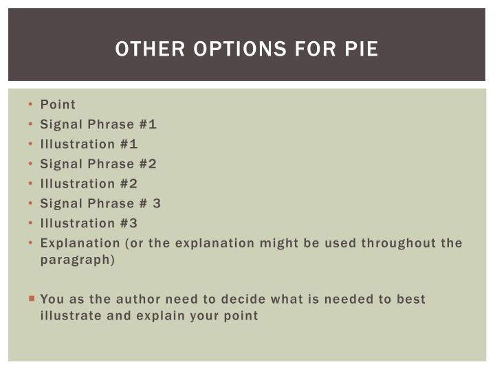 Other options for pie