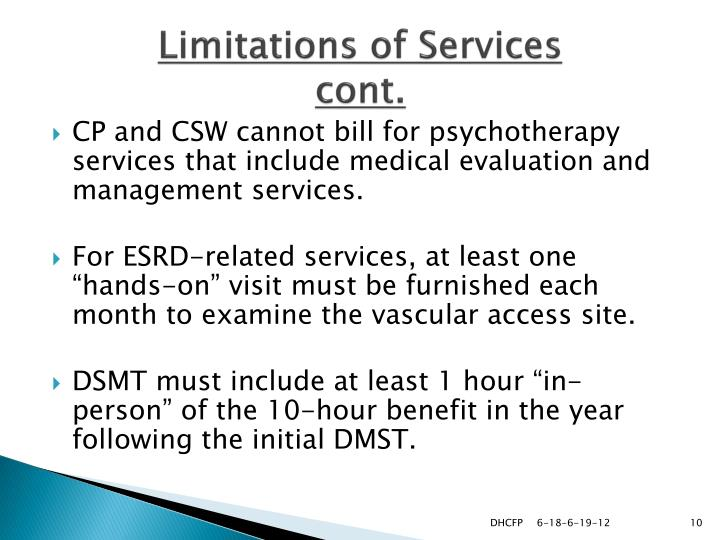 Limitations of Services
