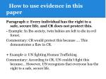 how to use evidence in this paper2