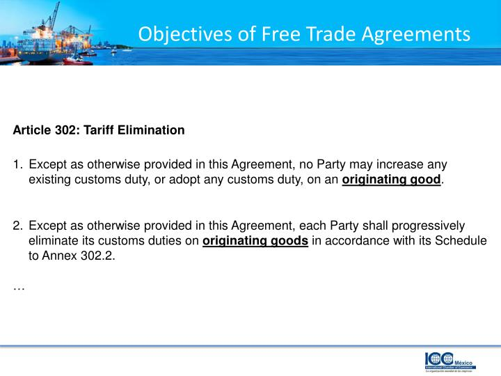 Objectives of free trade agreements1
