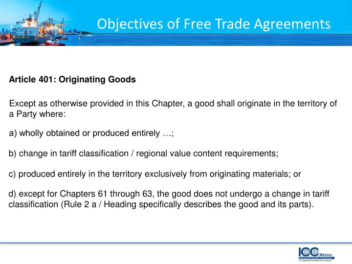 Objectives of Free Trade Agreements