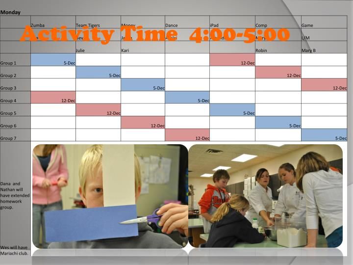 Activity Time  4:00-5:00