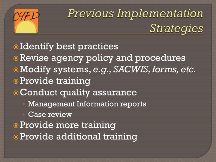 Previous Implementation Strategies