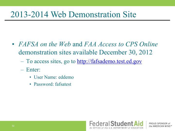 2013-2014 Web Demonstration Site