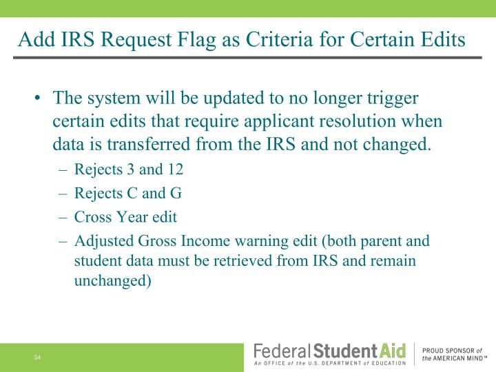 Add IRS Request Flag as Criteria for