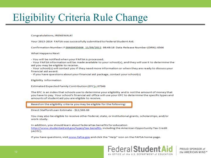 Eligibility Criteria Rule Change