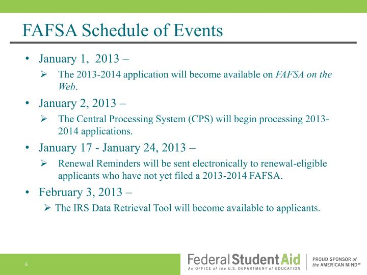 FAFSA Schedule of Events