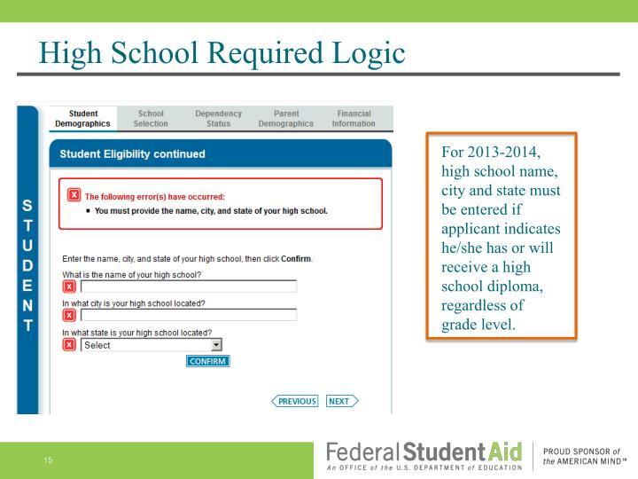 High School Required Logic
