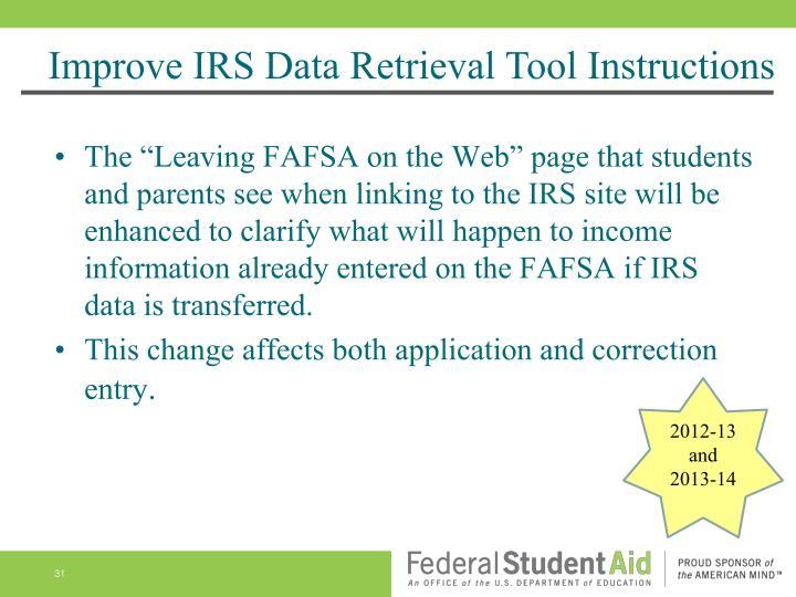 Improve IRS Data Retrieval Tool Instructions