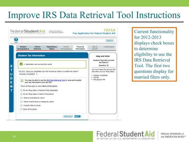 Improve IRS Data Retrieval