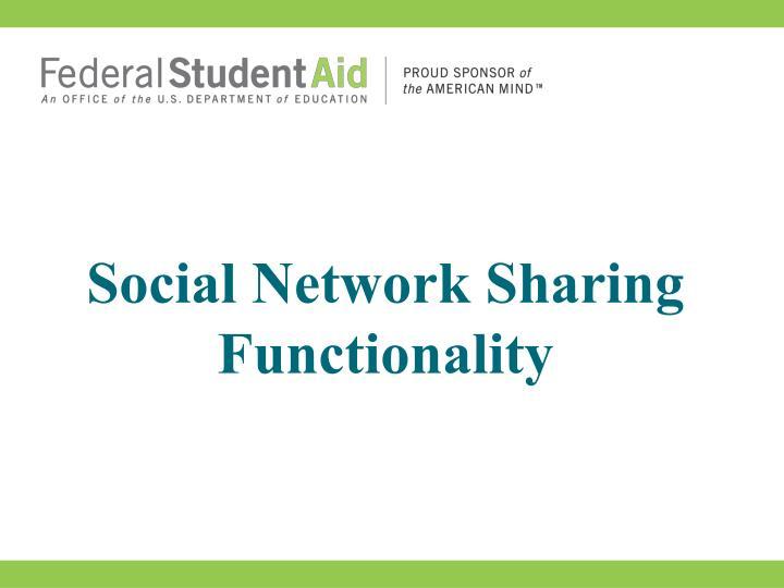 Social Network Sharing Functionality