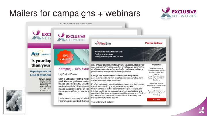 Mailers for campaigns + webinars