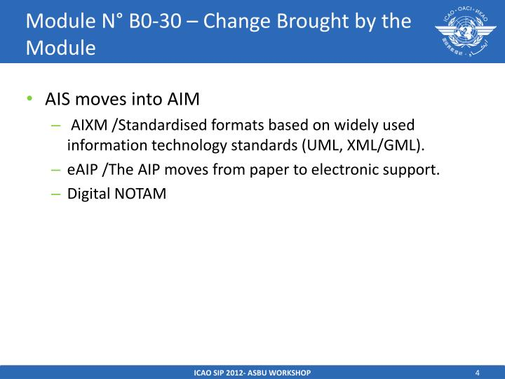 Module N° B0-30 – Change Brought by the Module