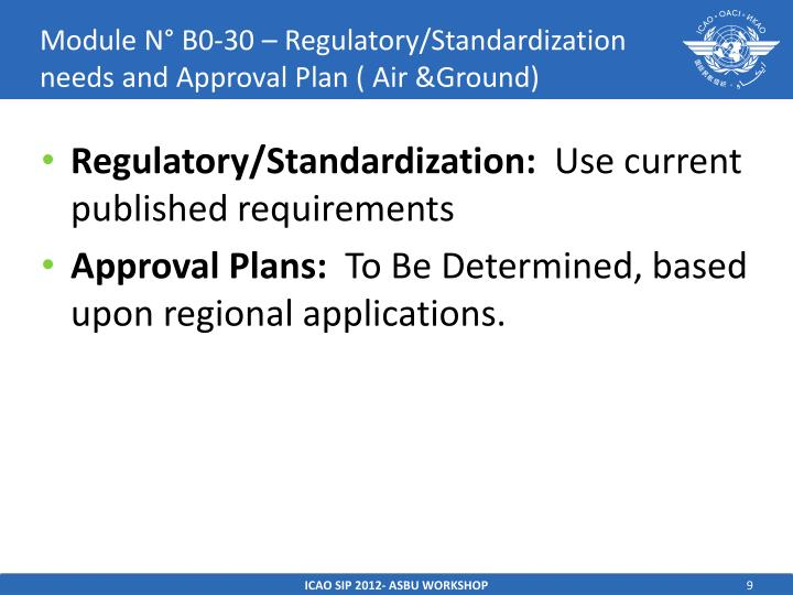 Module N° B0-30 – Regulatory/Standardization needs and Approval Plan ( Air &Ground)