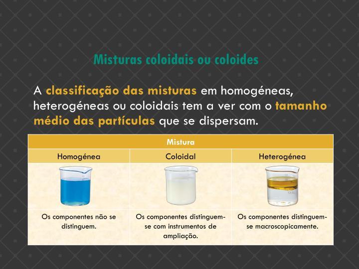 Misturas coloidais ou coloides
