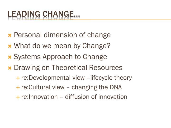 Personal dimension of change