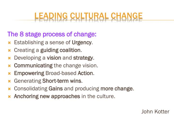 The 8 stage process of change: