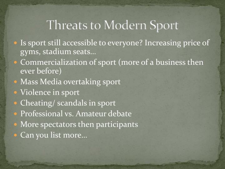 Threats to Modern Sport