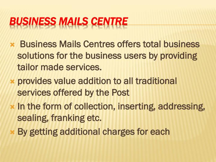 Business mails centre
