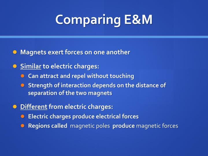 Comparing E&M