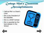 cathrya mel s classroom accomplishments