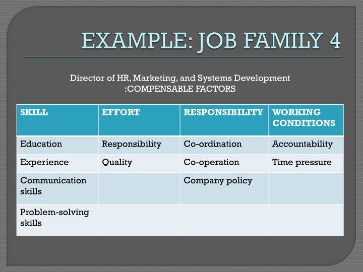 EXAMPLE: JOB FAMILY 4