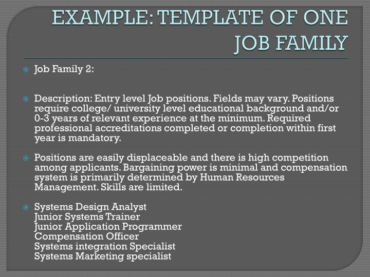 EXAMPLE: TEMPLATE OF ONE JOB FAMILY