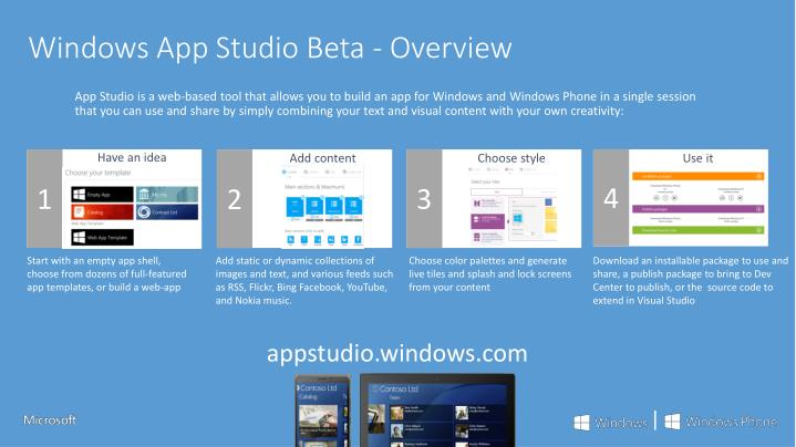 Windows App Studio Beta - Overview
