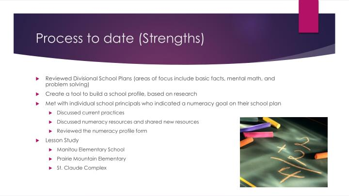 Process to date (Strengths)