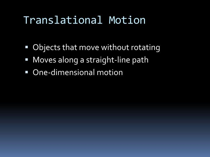 Translational Motion