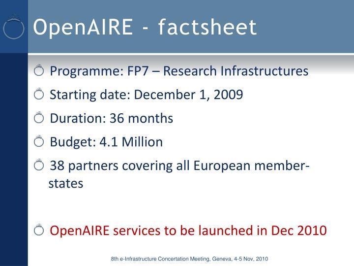 OpenAIRE - factsheet