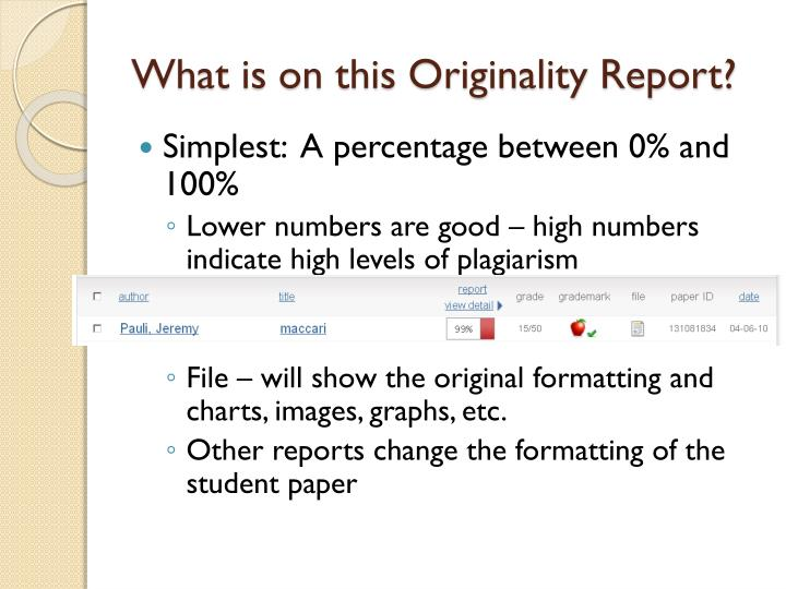What is on this Originality Report?