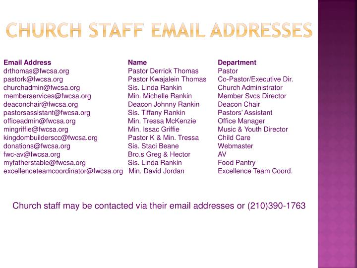 Church staff email addresses